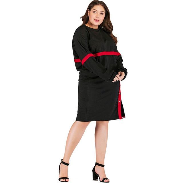 Plus Size Fashion Spring Suits Women Striped Two-Piece Dress Long Sleeve O Neck Sweatshirt Button Split Skirt Casual Loose Black