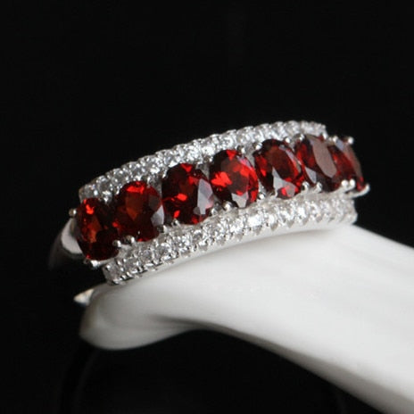 Natural Red Garnet Ring In 925 Sterling Silver January  Birthstone