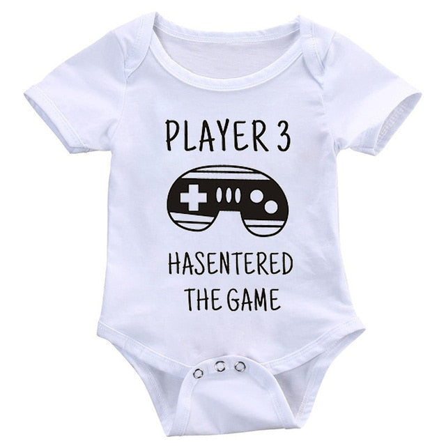 DERMSPE Summer Newborn Baby Boy or Girl Cotton Short Sleeve Letter Print Player 3 Has Entered The Game.  Check images for other letter prints.