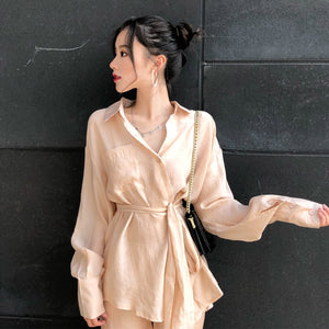 Mazefeng New Spring Women Casual Champagne Shirts Female Shirts Ribbons Irregular Shirts Ladies Shorts Style Pants Two Piece Set