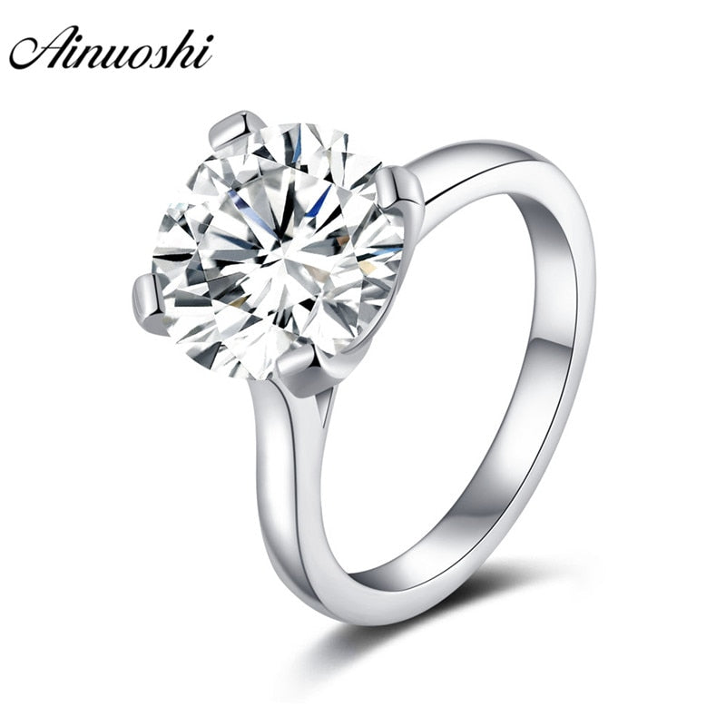 AINOUSHI 925 Sterling Silver Engagement Ring  3.5 Carats Round Solitaire Rings