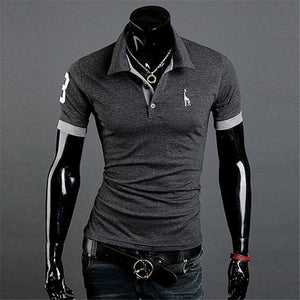 TJWLKJ New Man PoloShirt Brand Mens Casual Deer Embroidery Cotton Polo shirt Men Short Sleeve High Quantity Polo Men