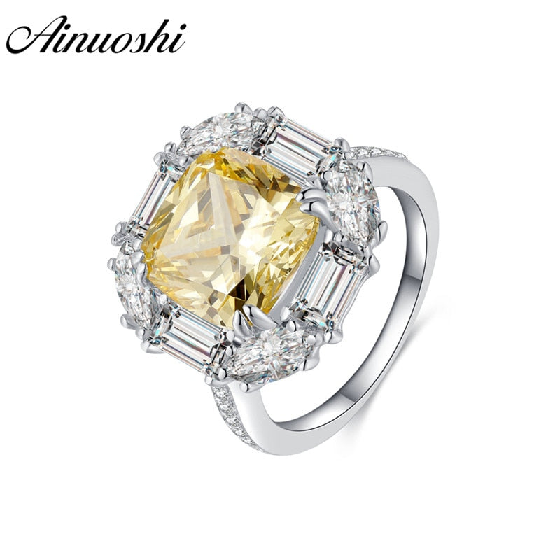 AINOUSHI 925 Sterling Silver Engagement Rings for Women Yellow Stone 5 Carats Cushion Cut Halo Rings
