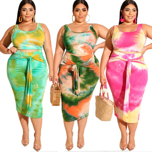 Summer Women Two Piece Outfits Prairie Chic Style New Tie-dye Printed Tight-fitting Bag Hips Fashion  2 Piece Set Plus Size