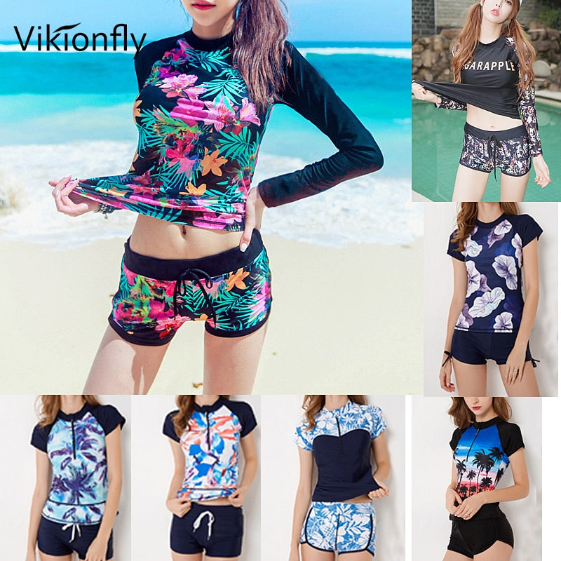Tankini Swimsuits Women Plus Size Long Sleeve Retro High Waist Bathing Suit