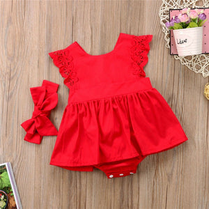 PUCOCO US Stock XMAS Newborn Baby Girl Lace Solid Princess Romper Dress Headband Outfit Flower Sundress Clothes 0-24M