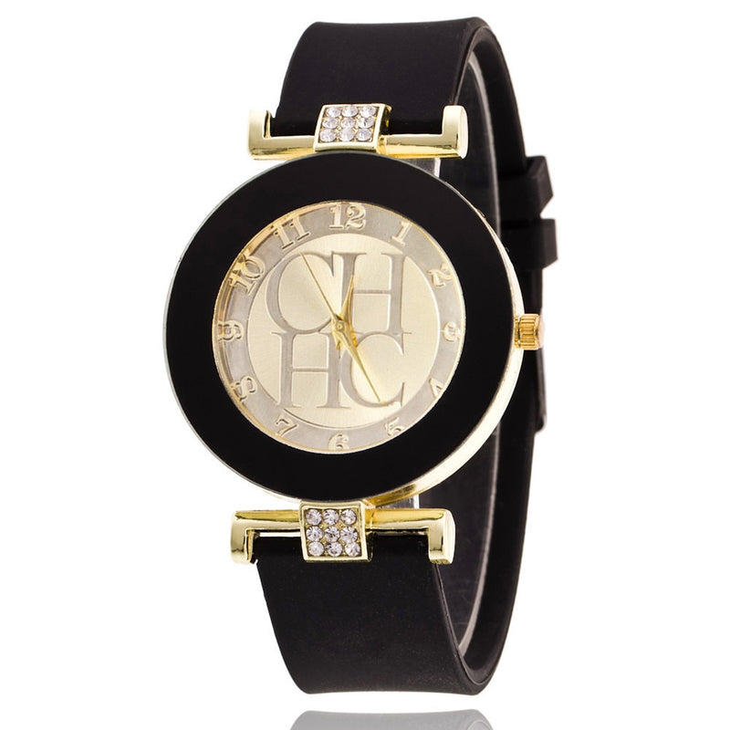 Fashion Brand Gold Geneva Casual Quartz Crystal Silicone Watch