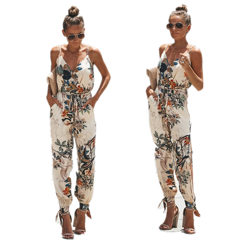 Women Jumpsuits Playsuit Cotton V Neck Floral Printed With Belt Summer Rompers Sexy Loose Jumpsuit Womens Bodysuits Pockets