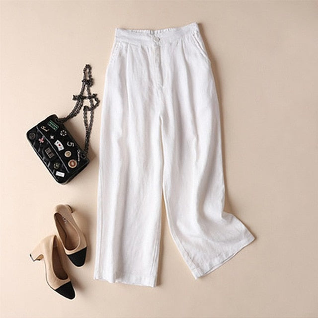 2019 new casual retro women's cotton and linen horn wide leg chic trousers slim long loose OL work casual comfort plus size