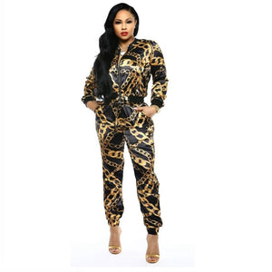 2019 New Women Chain Printed Zip Up Turn Down Neck Jackets Pencil Long Pants Suits Two Piece Set Tracksuit Outfit