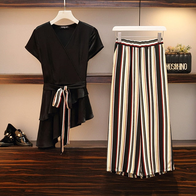 Summer Women two piece Set V-Neck Belt Beveled Hem Tops + Pants Striped Elastic Waist Office Lady Suit Set 2 Piece Set