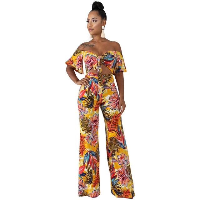 Leaves Print Sexy Beach Overalls For Women Slash Neck Short Sleeve Wide Leg Jumpsuit Summer Waist Band Cut Out Backless Rompers