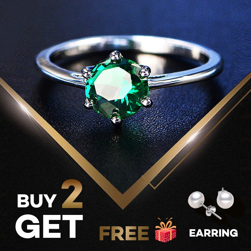 Natural Emerald Rings for Women 7MM Classic Silver 925 Jewelry Gemstone Fine Jewelry