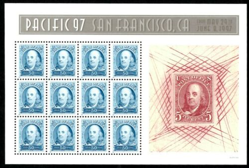 1997 Pacific 97 Ben Franklin Replica Stamp Sheet Of 12 50c Postage Stamps MNH, OG - Sc # 3139 - (CW54)