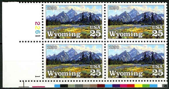 1990 - Wyoming Plate Block Of 4 25c Stamps - Sc# 2444 -MNH - CX817