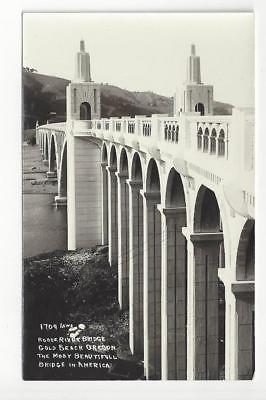 Vintage USA Real Photo Postcard - Rogue River Bridge, Gold Beach, OR - (AO5)