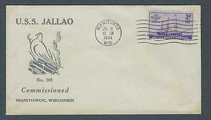 VEGAS - 1944 Submarine USS Jallao - Commission Cover - Manitowoc, WI - FB241