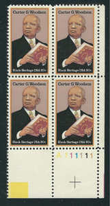 1984 - Carter G. Woodson Plate Block Of 4 20c Postage Stamps - MNH - Sc# 2073 - CW386f