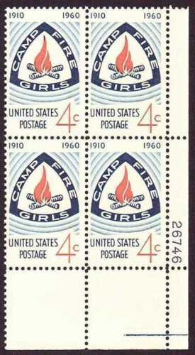 1960 - Camp Fire Girls Plate Block of 4 4c Postage Stamps - Sc# - 1167 - MNH, OG - CX675