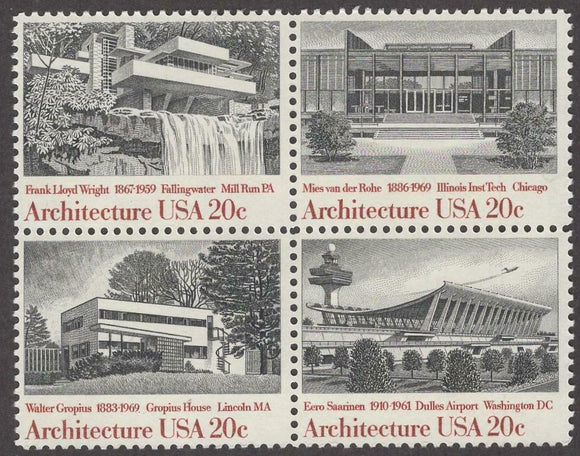 1982 Architecture Block Of 4 20c Postage Stamps - Sc 2019-2022 - MNH - CW482a