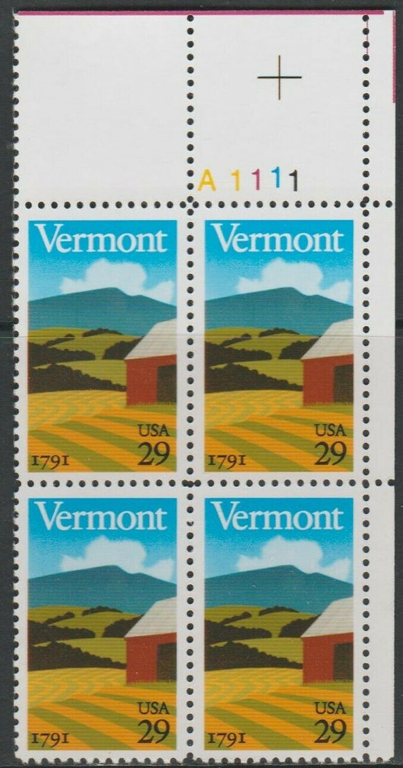1991 Vermont Statehood, 200th Anniv. Plate Block of 4 29c Postage Stamps - MNH, OG - Sc# 2533