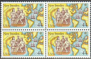1988 Settling Of New Sweden Airmail Block Of 4 44c Postage Stamps - MNH, OG - Sc# C117 - BC49