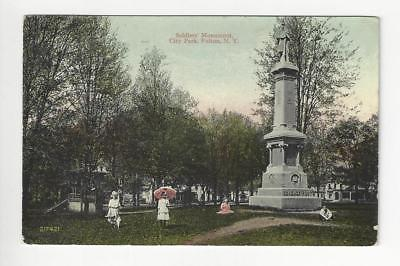 Posted 1913 USA Postcard - City Park, Fulton, NY - Read Reverse (AT104)