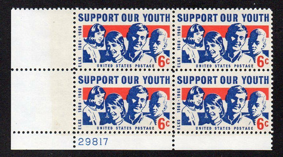 1968 Support Our Youth Plate Block Of 4 6c Postage Stamps - MNH, OG - Sc# 1342 - CX294