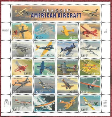 1997 Classic American Aircraft Sheet of 20 32c Postage Stamps - MNH, OG -Sc# 3142 - CV24