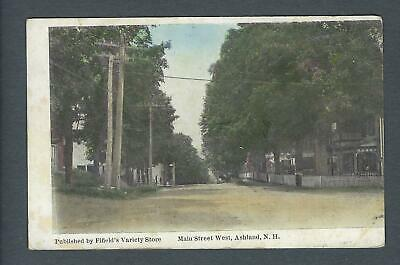VEGAS - Posted 1910 Ashland, NH - Main St West Photo Postcard - FD393