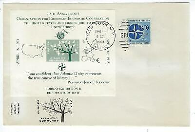 VEGAS - 1963 USA Cover for 15th Anniv. For USA & Europe Cooperation - CV123