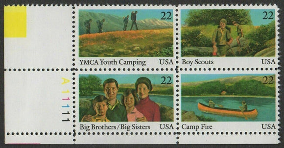 1985 International Youth Year - Plate Block of 4 22c Stamps - MNH, OG - Scott#2160-2163 - CX891