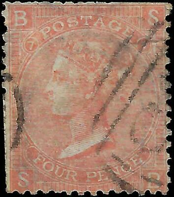 VEGAS - 1865 Great Britain Sc# 43a, PL7 - Crease Perf Flaws - Cat= $100 - (FE19)