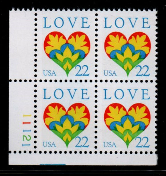 1987 Love Issue Plate Block of 4 22c Postage Stamps - MNH, OG - Sc# 2248