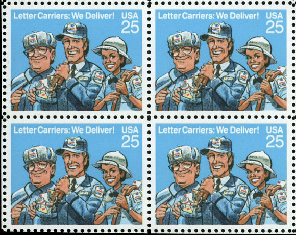 1989 Letter Carriers Block Of 4 25c Postage Stamps - Sc 2420 - MNH, OG - CW462a