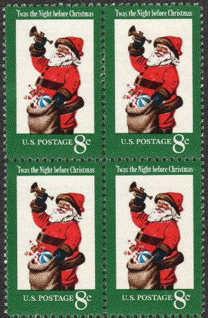 1972 Christmas Santa Block Of 4 8c Postage Stamps - Sc 1472 - MNH - CW425a