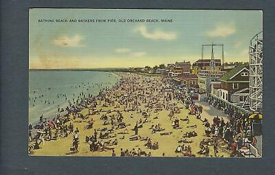 VEGAS - 1941 Postcard Old Orchard Beach, Maine - Bathers From Pier - FD353