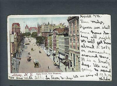 VEGAS - 1905 Postcard Albany, NY - State Street From Broadway - FD354