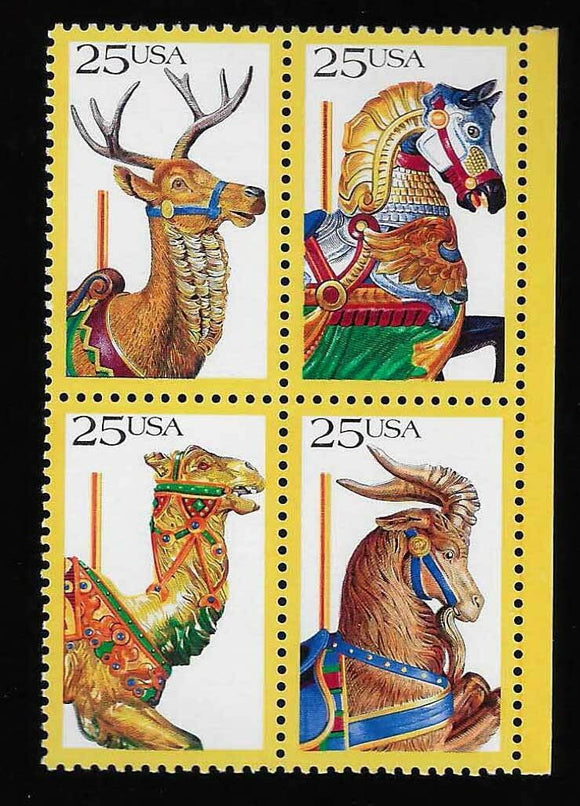 1988 Carousel Animals Block Of 4 25c Postage Stamps - Sc# 2390-2393 - MNH, OG - CW324