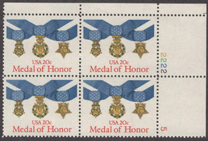 1983 USA Medal Of Honor Plate Block Of 4 20c Postage Stamps - Sc# 2045 - MNH, OG - CW251b