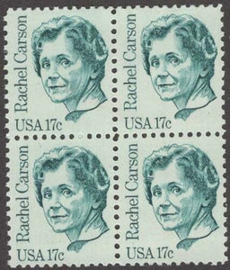 1981 Rachel Carson Block Of 4 17c Postage Stamps - Sc# 1857 - MNH - CX807