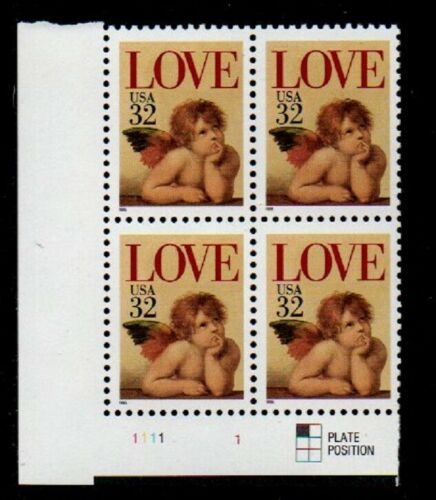 1995 Love Cupid Valentine's Plate Block of 4 32c Postage Stamps - MNH, OG - Sc# 2957