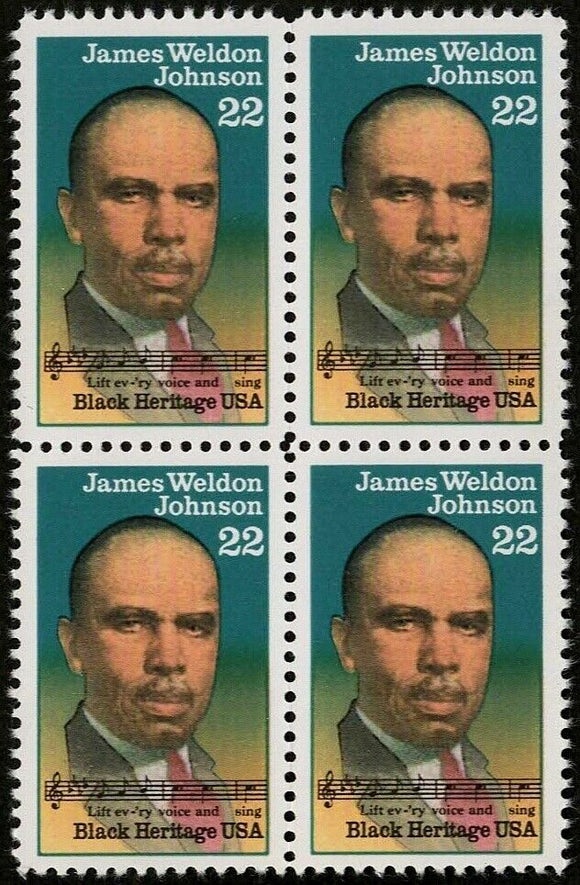 1988 - James Weldon Johnson Block Of 4 22c Postage Stamps - MNH - Sc# 2371 - CW389a