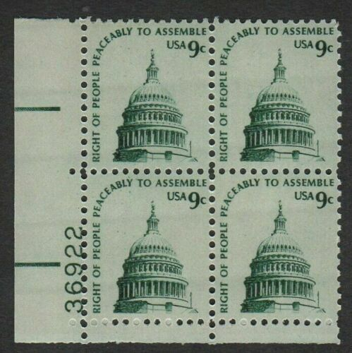 1975 Right Peaceably Assemble Plate Block Of 4 9c Postage Stamps - Sc# 1591 - MNH, OG - CX471