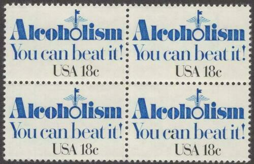 1981 Alcoholism, You Can Beat It! Block of 4 18c Postage Stamps - MNH, OG - Sc# 1927
