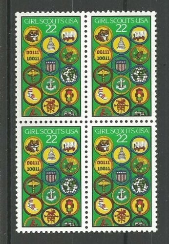 1987 Girl Scouts Block Of 4 22c Postage Stamps - Sc# 2251 - MNH, OG - CX868