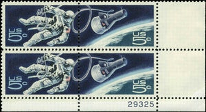 1967 - Astronaut & Space Ship Plate Block Of 4 5c Postage Stamps - Sc# 1331, 1332 - MNH, OG - CX484