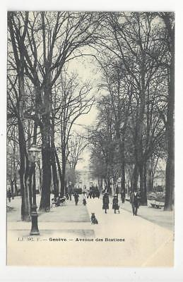 Vintage Switzerland Photo Postcard - Geneva - Avenue des Bastions (AN49)
