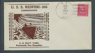 VEGAS - 1944 Submarine Redfish Commission Cover - Portsmouth, NH - FD206