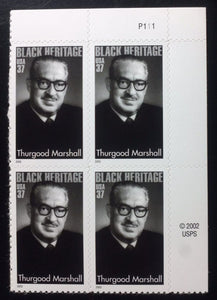 2003 - Thurgood Marshall Plate Block Of 4 37c Postage Stamps - Sc# 3746 - MNH, OG - DC120